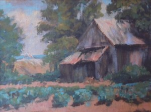 """Fred's Barn,"" acrylic painting by Fran Liburt."