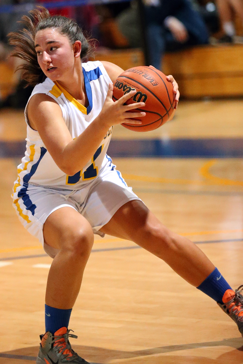 Mattituck's Courtney Penny looks to make a move. (Credit: Garret Meade)