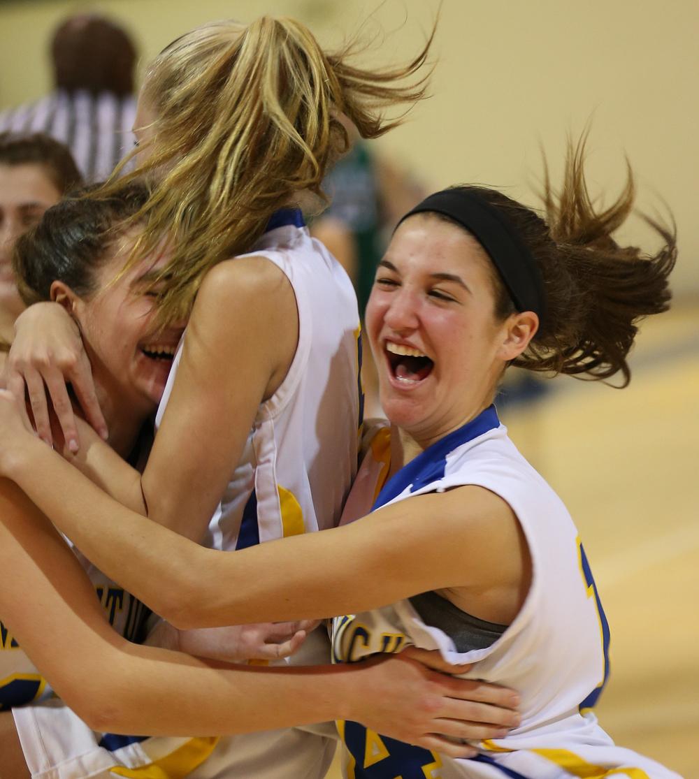 Jane DiGregorio (right) celebrates with her teammates. (Credit: Garret Meade)