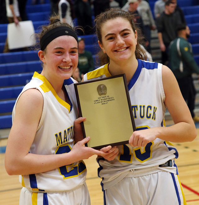 Mattituck senior Corinne Reda, left, and senior Liz Dwyer hold the championship plaque. (Credit: Garret Meade)