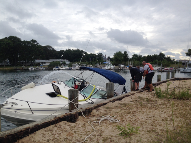 The boat was pulled back to a dock Saturday morning. (Credit: Sonja Reinholt Derr)