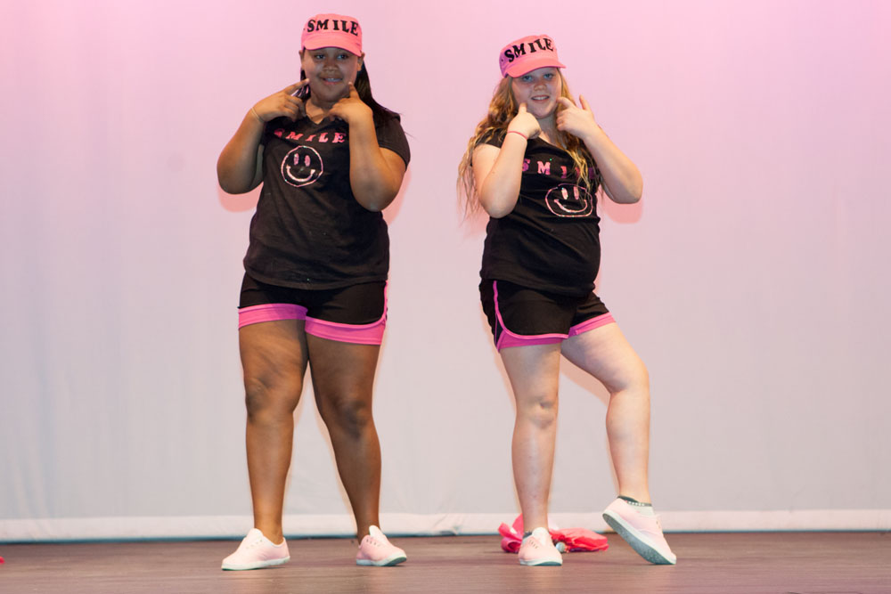Madison Flora and Makenzie Kruszeski sing Smile. (Credit: Katharine Schroeder)