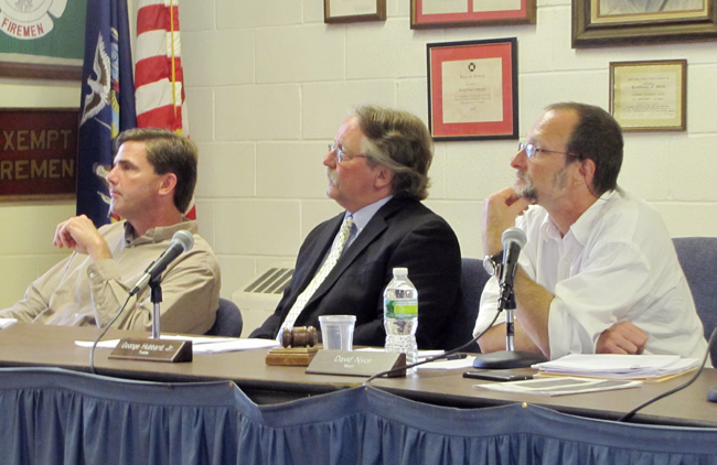 The seats of trustees David Murray (left), George Hubbard Jr. and Mayor David Nyce (right) are up for grabs in the the village's 2015 election. (Credit: Cyndi Murray)