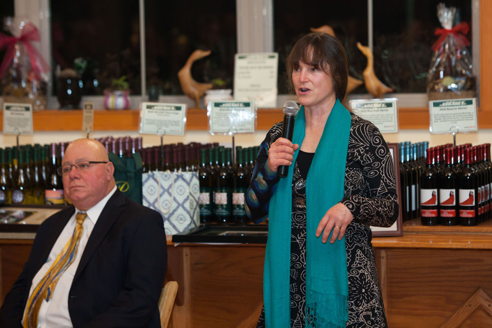 Presenter Karen Rivara, Long Island Farm Bureau president. (Credit: Katharine Schroeder)