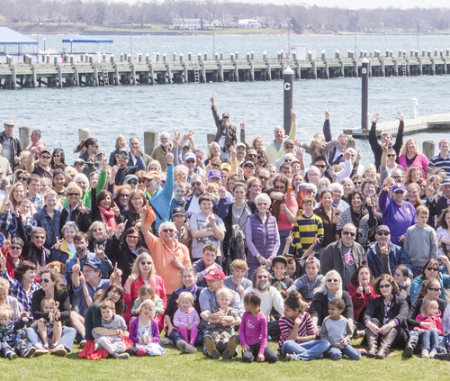 Residents of Greenport came out for a group photo at Mitchell Park last Sunday that was used for the cover of The Suffolk Times this week. (Credit: Katharine Schroeder)