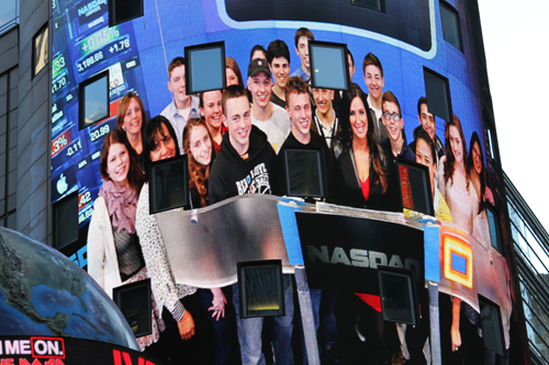 COURTESY PHOTO | Greenport High School students involved with DECA participated last Thursday with the NASDAQ closing bell event.