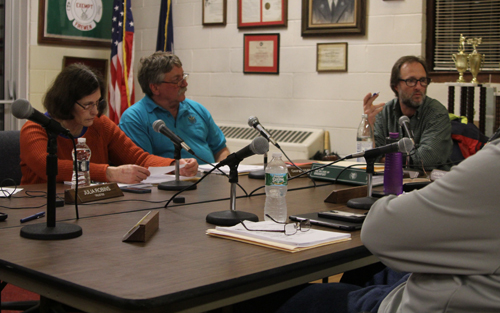 The Greenport Village Board during Monday night's work session. (Credit: Jen Nuzzo)
