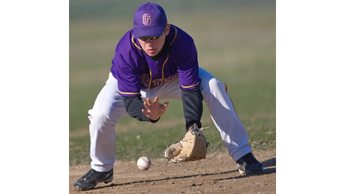 Second baseman Max Eggimann, one of Greenport's nine players, fielding a ground ball during Thursday's game against Smithtown Christian. (Credit: Garret Meade)