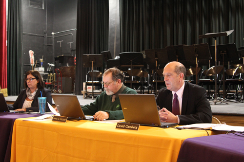 Greenport School District Superintendent David Gamberg, right, at Monday's school board meeting. (Credit: Jen Nuzzo)