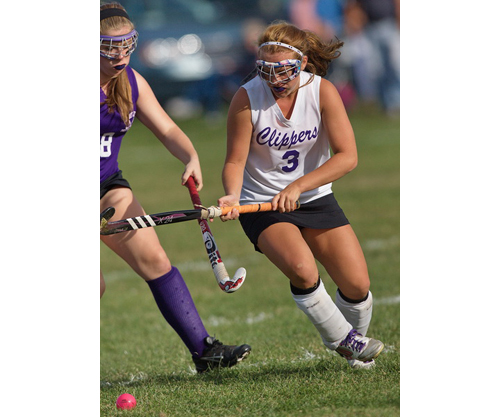 GARRET MEADE PHOTO | Madison Tabor, right, challenging for the ball, scored Greenport/Southold's first goal.