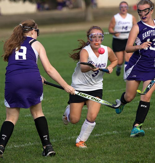 Greenport/Southold forward Madison Tabor, air dribbling in a game against Hampton Bays last year, played in the USA Futures Field Hockey National Tournament this summer. (Credit: Garret Meade, file)