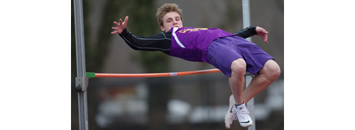 Greenport/Southold freshman Ben Bracken, a newcomer to the high jump, set a personal record by clearing 5 feet 4 inches. (Credit: Garret Meade)