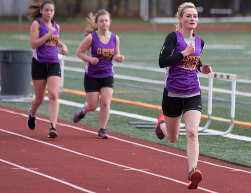Greenport/Southold's Heather Koscinch turned in a second-place showing in the 3,000 meters in 14 minutes 9.9 seconds during Monday's meet in Hampton Bays. (Credit: Katharine Schroeder)