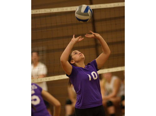 GARRET MEADE PHOTO   Greenport/Southold setter Sydney Mulvaney delivered 13 assists for the Clippers against Bishop McGann-Mercy.