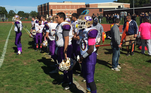Greenport/Southold/Mattituck took a hit Saturday with a 40-0 loss to Bayport-Blue Point. (Credit: Bob Liepa)
