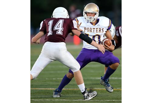 Greenport/Southold/Mattituck quarterback Dylan Marlborough has used his throwing arm, his legs and his football I.Q. to help the Porters win their first two games. (Credit: Garret Meade)