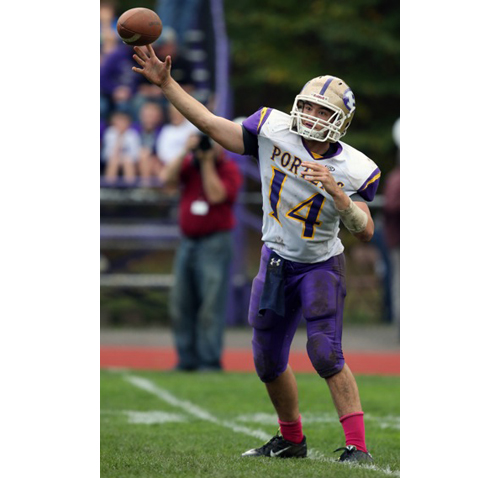 Greenport/Southold/Mattituck quarterback Matt Drinkwater releasing a pass during Saturday's game against Port Jefferson. (Credit: Daniel De Mato)