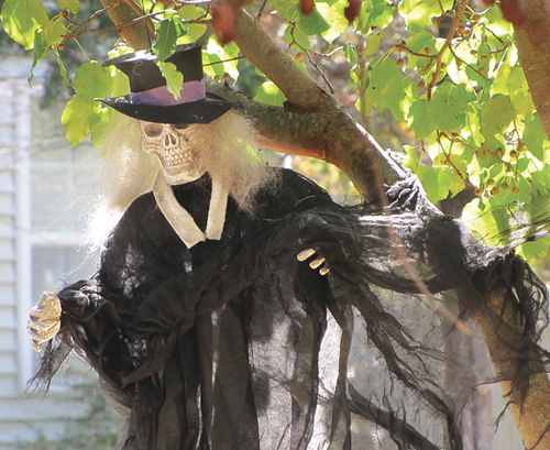 CYNDI MURRAY PHOTO  |  Fashion-forward skeletons have taken up residency in a Greenport yard.