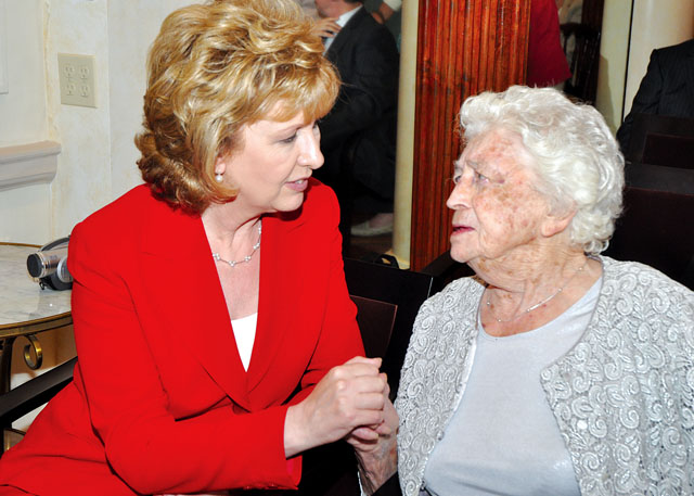 Hannah Lovett of Mattituck met former Irish president Mary McAleese for her 100th birthday. (Credit: Consulate General of Ireland courtesy)