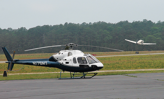 A helicopter at East Hampton Airport. (Credit: Kyril Bromley/The East Hampton Press, file)