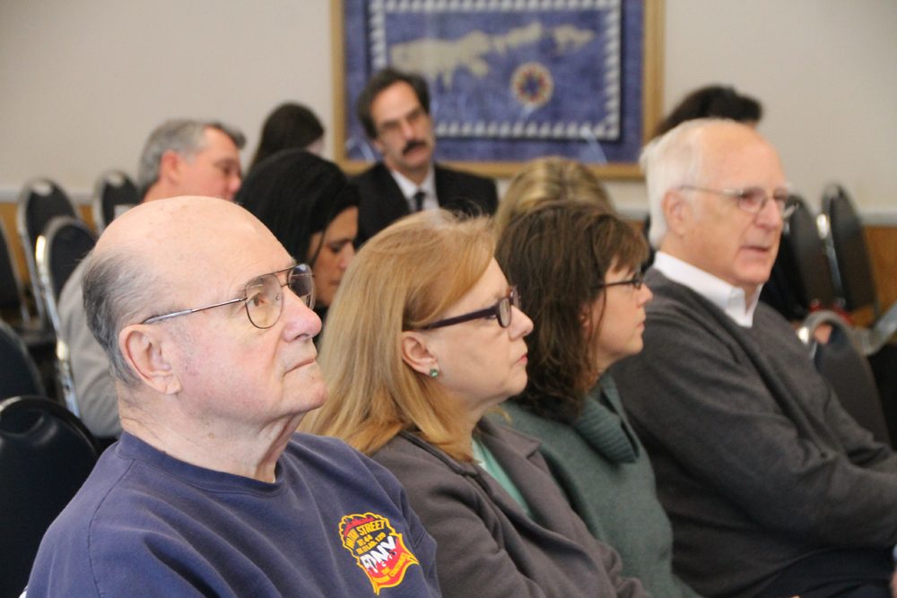 Members of the Southold Town Tick Committee, (L-R) Jim Duggan, Maureen Massa, Laura Klarhe and chair John Rasweiler, present their findings to the Southold Town Board Tuesday morning. (Credit: Paul Squire)