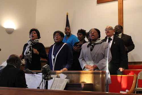 PAUL SQUIRE PHOTO | Members of the Clinton Memorial AME Zion Church Choir sing at Sunday's Martin Luther King Jr. celebration in Greenport.