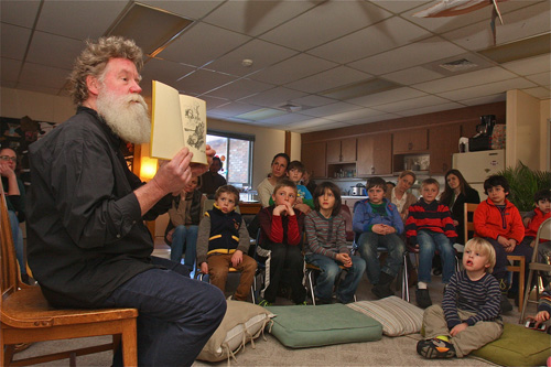 Scott Chaskey reads to the Peconic Community School late last month. (Credit: Barbaraellen Koch)