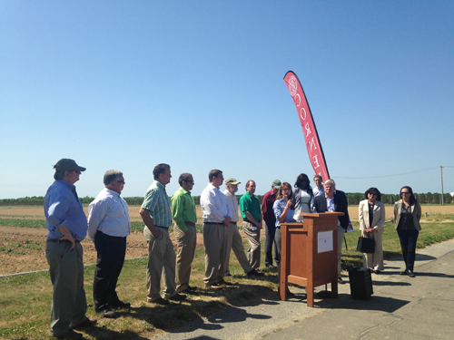 Peconic Land Trust and other local organizations held a press conference Friday in Riverhead to announce a new grant to help farmers. (Credit: Nicole Smith)
