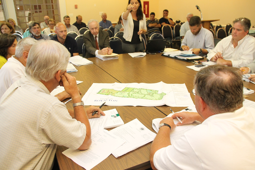 The Southold Town Planning Board reviews an application for the Estates at Royalton, a new housing development. (Credit: Paul Squire)