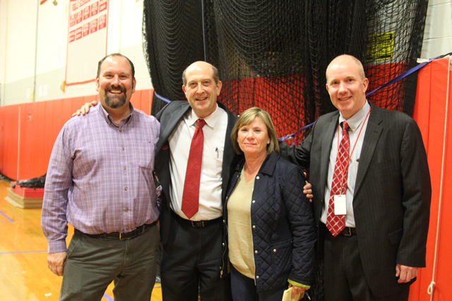 From left, Southold director of operations Marcus DaSilva, superintendent David Gamberg, school board president Paulette Ofrias and asstisant superintendent for business Charles Scheid.