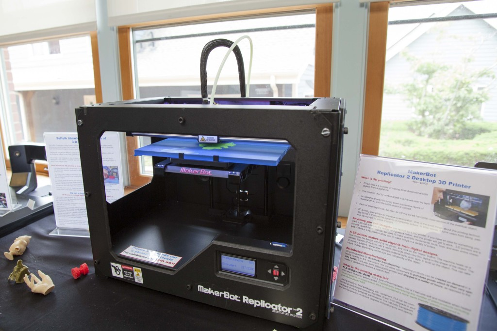 The Southold Free Public Library will be showing a 3-D printer for the month of July — and this year, patrons can use it to create all sorts of objects they want. (Credit: Chris Lisinski)
