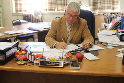 JENNIFER GUSTAVON PHOTO | James McKenna in his office Monday.