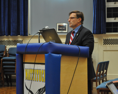 Jeffrey Davoli, a certified public accountant with Albrecht, Viggiano, Zureck & Co. in Happauge, said Thursday the Mattituck-Cutchogue School District demonstrated 96.4 percent accuracy in preparing financial statements. (Rachel Young photo)