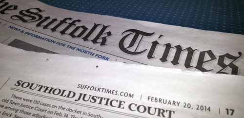 The Southold Justice Court roundup appeared in last Thursday's issue of The Suffolk Times. (Credit: Jennifer Gustavson)