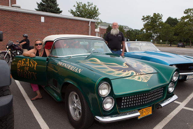 Tisha Watroba and Chris Urban with their 1955 Thunderbird. (Credit: Katharine Schroeder)