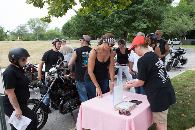 A group of riders check in. (Credit: Katharine Schroeder)