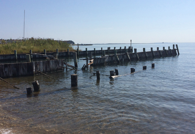 This bulkhead at Norman Klipp Park in Greenport will soon be repaired. (Credit: Grant Parpan)