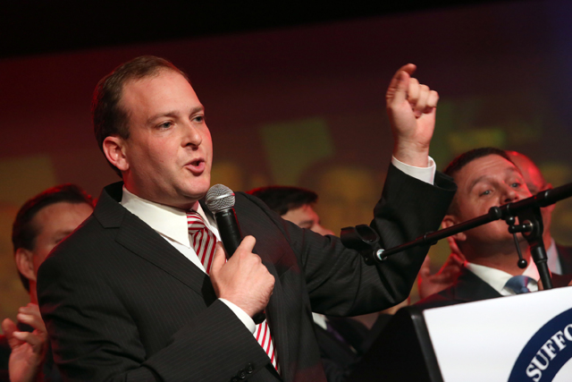 Congressman Lee Zeldin addresses his supporters at the Suffolk County GOP gala at Emporium in Patchogue on Election Day. (Credit: John Griffin, file)