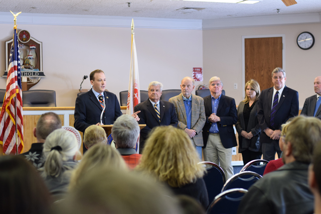 Congressman Lee Zeldin speaks to reporters and concerned members of the public at a press conference on helicopter noise at Southold Town Hall Sunday. (Credit: Vera Chinese)