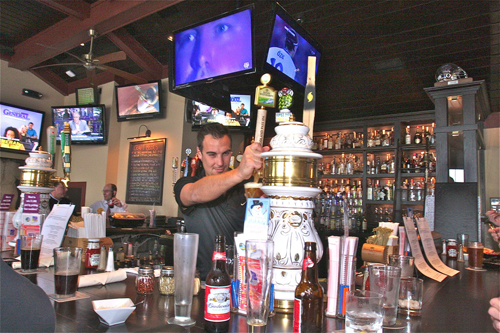 BARBARAELLEN KOCH PHOTO  |  Legends bartender Jonathan Polistena behind the bar Wednesday afternoon. Legends