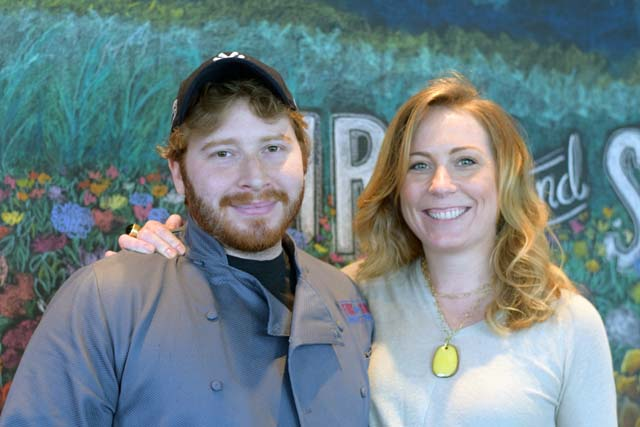 Scott Leventhal and Sarah Phillips at First and South restaurant in Greenport on Thursday. (Credit: Vera Chinese)