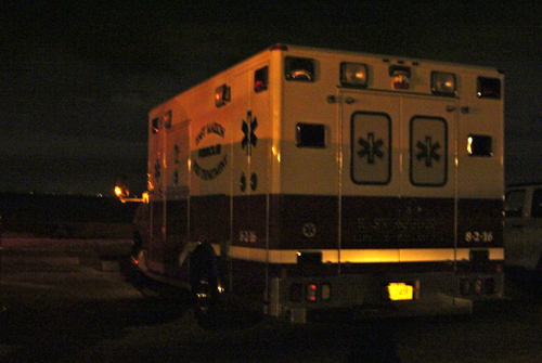 East Marion ambulance at Truman's Beach in Orient.