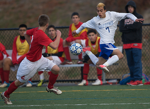 GARRET MEADE FILE PHOTO  |  Mattituck sophomore Mario Arreola and the Tuckers take on Livonia today in the Class B state semifinals at Middletown High School.