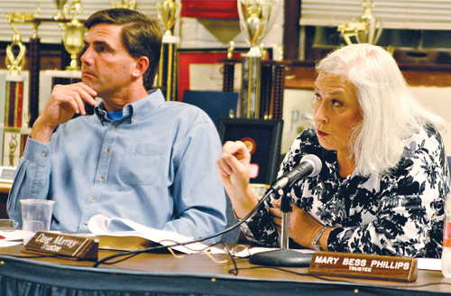 JENNIFER GUSTAVSON FILE PHOTO | Greenport Village Trustee Mary Bess Phillips, right, at a Village Board meeting in February 2012.