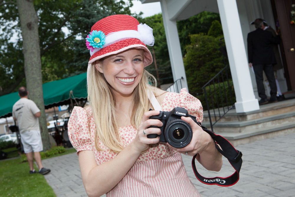 Old meets new as Meghan Cavanaugh of Hampton Bays takes photos at the party.
