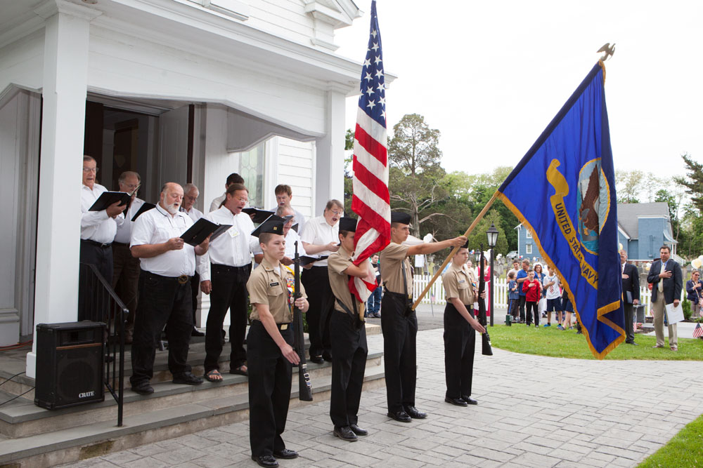 The NJROTC and members of the church during the ceremony.