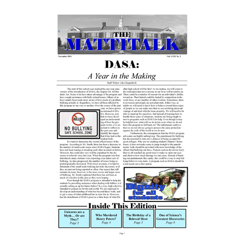 Read Mattituck's student newspaper, The Mattitalk