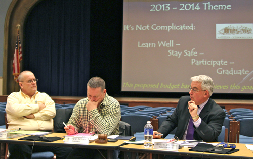 From right, Mattituck-Cutchogue School District Superintendent James McKenna, board president Jerry Diffley and vice president Charlie Anderson at Thursday night's budget workshop. (Credit: Jennifer Gustavson)