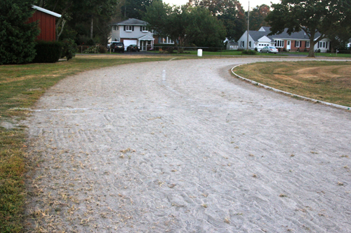JENNIFER GUSTAVSON PHOTO | The current condition of Mattituck High School's track. Residents will be asked on Oct. 29 to approve the district's proposed $925,000 track bond proposal.
