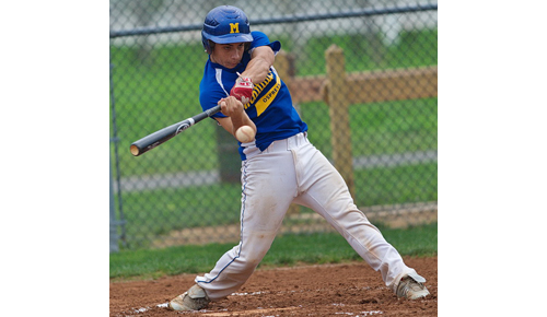 GARRET MEADE PHOTO | Anthony Fedele of the Mattituck Ospreys taking a cut during his team's semifinal win over the Massapequa Cyclones.